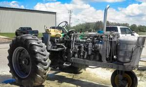 Blasting a tractor